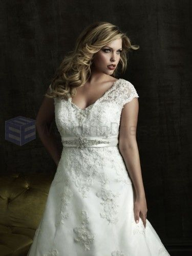 A-line Satin Embroidered Bodice V-Neckline Chapel Length Train Wedding Dresses