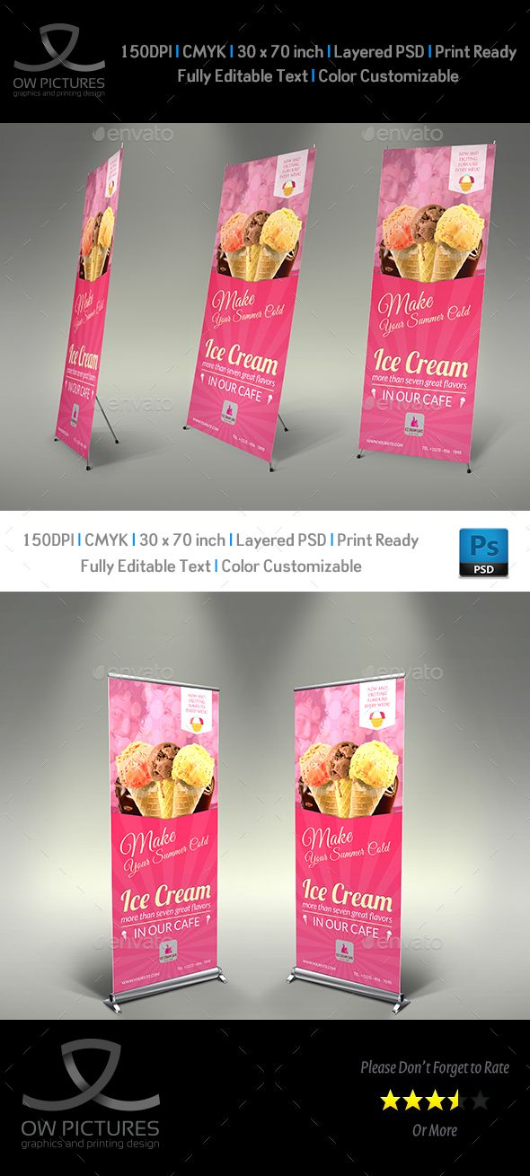 Signage Roll-Up Banner Description: Ice Cream Roll-up Signage Banner Template Vol.4 was designed for business, it¡¯s professi