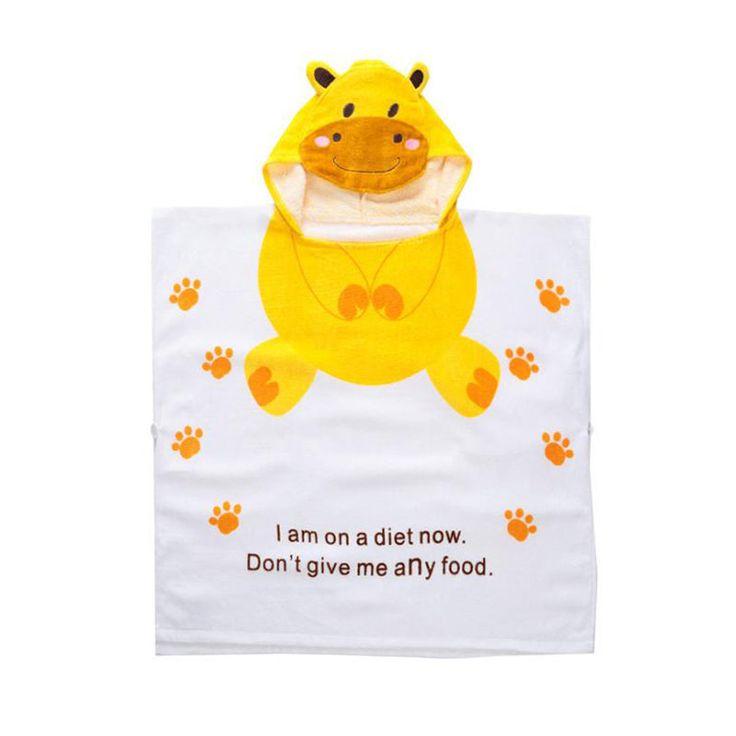 Lovely Style Children's Swimming Towels Bathrobe Hippo Cartoon Design Hooded Kids Beach Towel 100% Cotton Baby Bath Towel