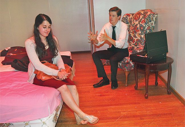 """New troupe performs at McGann-Mercy... Members of the McGann-Mercy Theatre Company in conjunction with Trinity Theatre Company will perform Neil Simon's comedy """"Plaza Suite"""""""