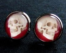 Blood Skull Stud Oorbellen-Halloween oorbellen-Skull oorbellen-Gothic oorbellen-Skull sieraden-schedels-Goth sieraden-Goth oorbellen