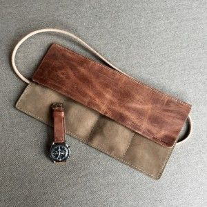 Bas and Lokes handmade leather suede watch roll