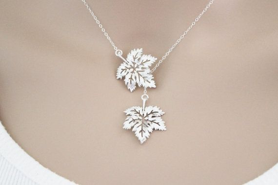 Maple Leaf Lariat Necklace Silver Wedding Graduation by beadxs, $28.00