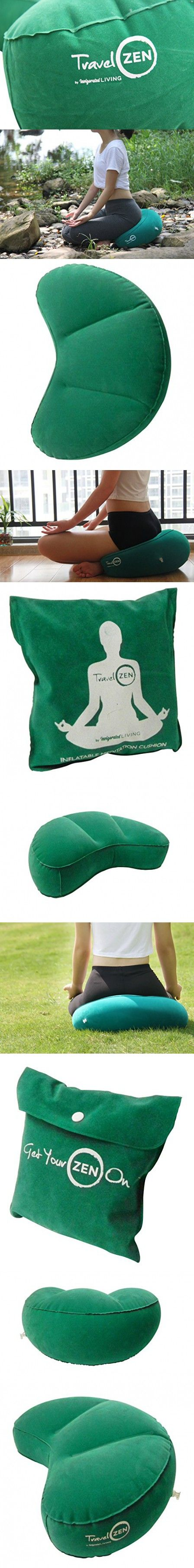 Travel ZEN Inflatable Crescent Meditation Cushion By Invigorated Living, Portable Yoga Meditation Pillow, No More Heavy Meditation Chair or Bench, Quality Construction, Durable Material (Green)