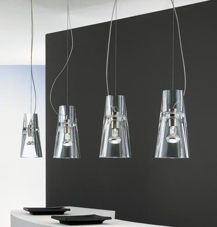 Clear Glass Adds Sophistication And Drama To Theses Contemporary Kon Suspension Pendants Kitchen Pendant Lightingmodern