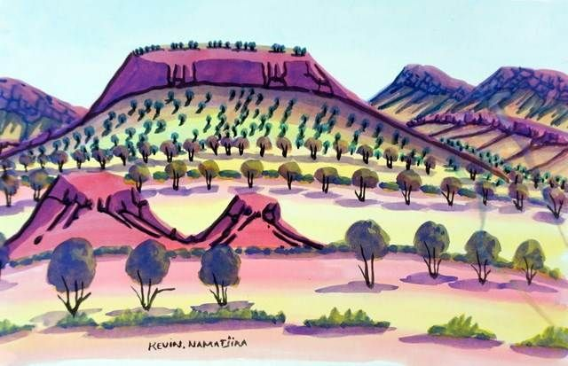 KEVIN NAMATJIRA (c. 1958 - )ORIGINAL HERMANNSBURG WATERCOLOUR PAINTING