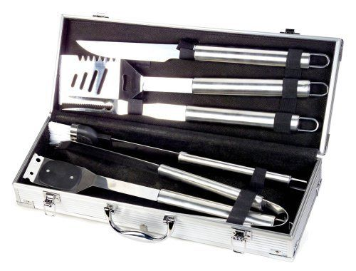 Style Asia HW4112 Chefs Basics Select 6-Piece Stainless-Steel BBQ Set in Metal Case by Style Asia. $24.84. Barbeque fork, tongs, knife, wire grill-cleaning brush, and basting brush. Slotted turner with tenderizer blades and built-in bottle opener. Measures 7-5/8 by 18 by 3-5/8 inches. 6-piece barbeque set includes a custom aluminum carrying case. Stainless-steel construction; dishwasher-safe for quick cleanup. Style Asia Chefs Basics Select 6 Piece Stainless Steel BBQ Set is ...
