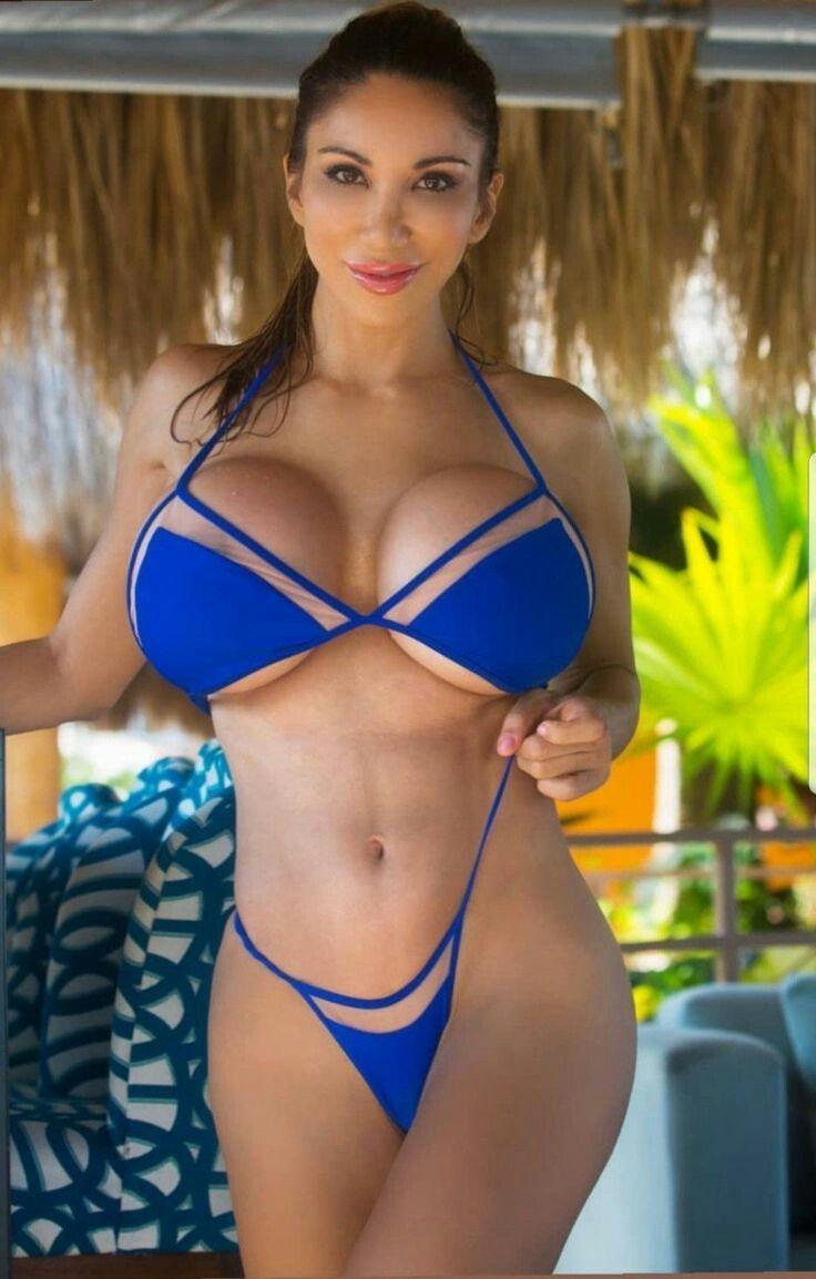 Portrait sexy latina woman yellow bikini stock photo