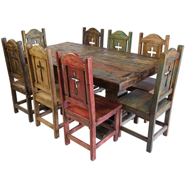 Rustic 9 Pc Mexican Dining Trestle Table Set W Chairs Handmade