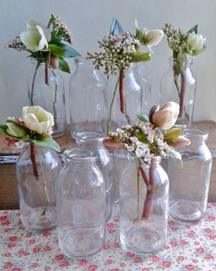 bulk 10 x shabby chic small milk bottle vases not drinking country wedding