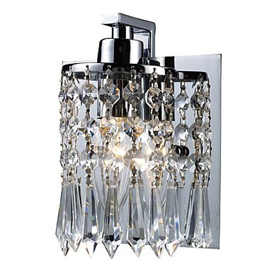 60W Modern Wall Light with Crystal Pendants in Polished Chrome – DKK kr. 606