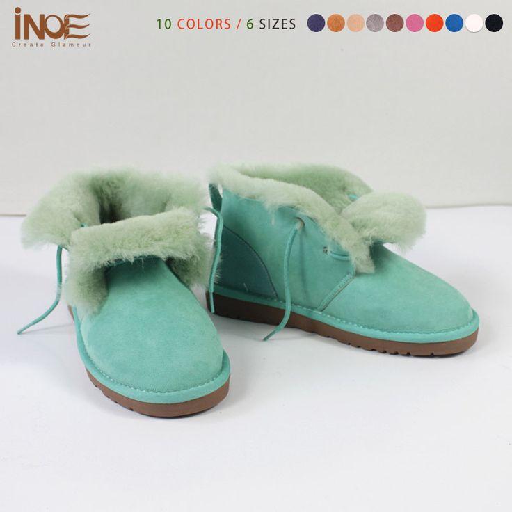 Модные босоножки, мужчины зимняя обувь для женщин реального кожа овчины шерсти меховой подкладке короткие лодыжки ботинки снега водонепроницаемый бесплатная доставка