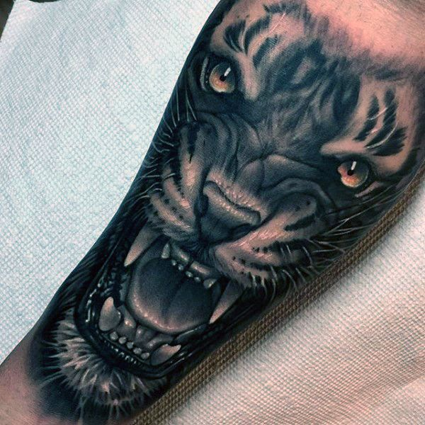 Tiger Growling Awesome Mens Forearm Tattoo Ideas                              …