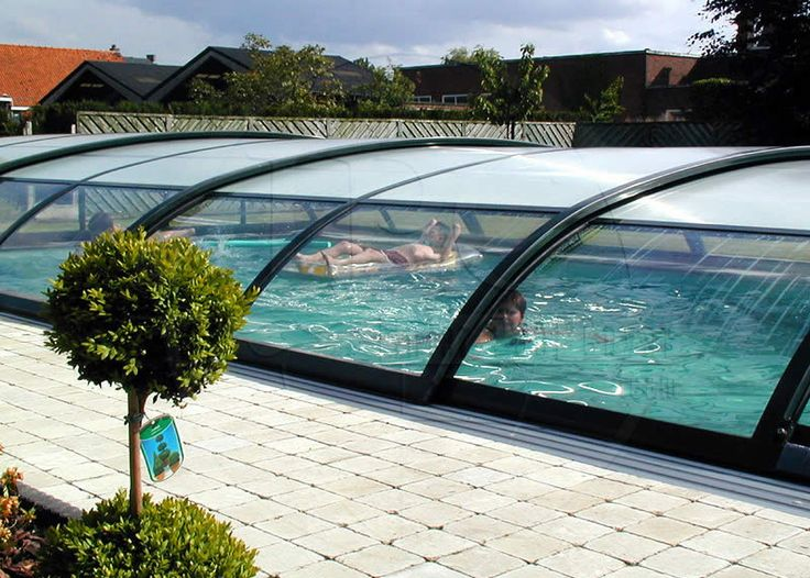 In ground pool with retractable cover pool enclosures for Inground pool greenhouse