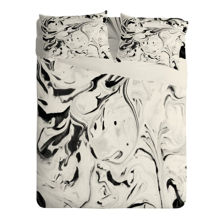 Jacqueline Maldonado Black and White Marble Sheet Set Lightweight | DENY Designs Home Accessories