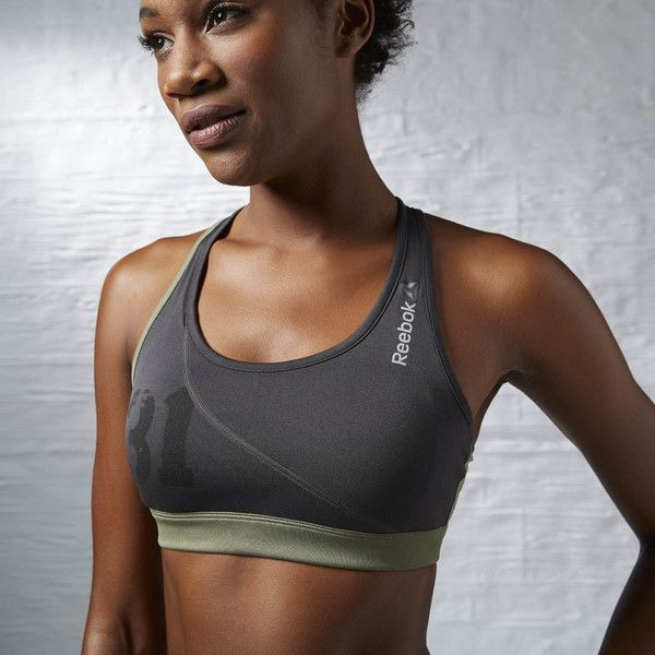 Reebok Spartan Short Bra featuring polyvore, women's fashion, clothing, activewear, sports bras, apparel, coal, balconette bra, reebok sports bra, reebok activewear, racer back sports bra and balcony bra