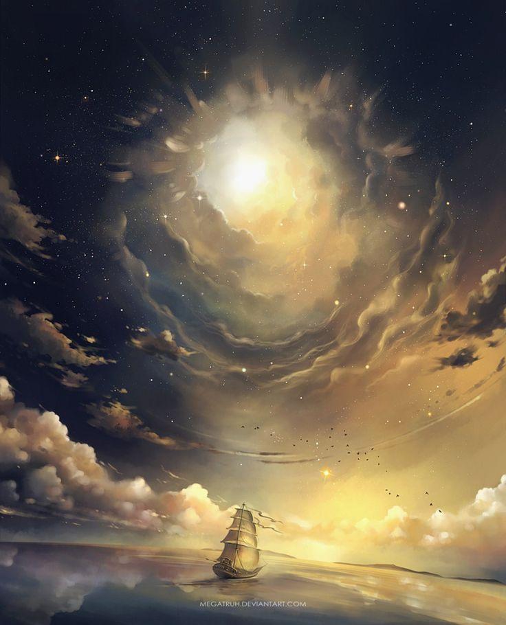Megatruh, ship, water, sunbeams, cloudy sky, water, sailing, true art