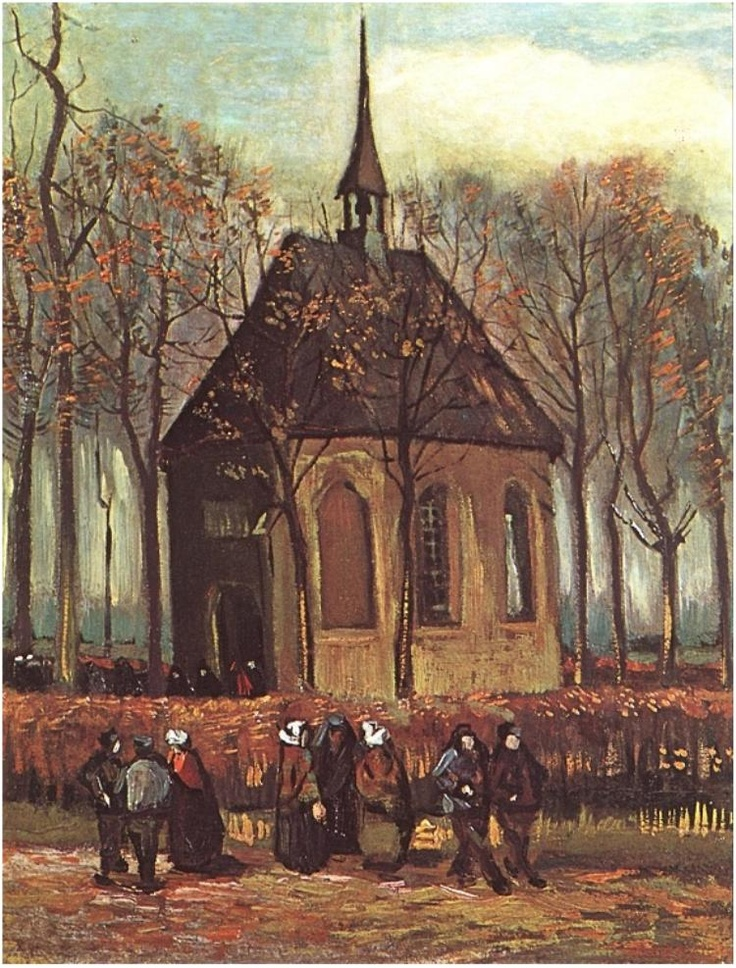 Congregation Leaving the Reformed Church in Muenen 1884. Vincent van Gogh (30 March 1853 – 29 July 1890)