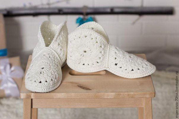 Krásne háčkované papuče