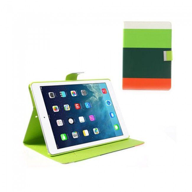 Freestyle (Hiekka/Vihreä/Oranssi) iPad Air Nahkakotelo - http://lux-case.fi/ipad-air-suojakuoret.html