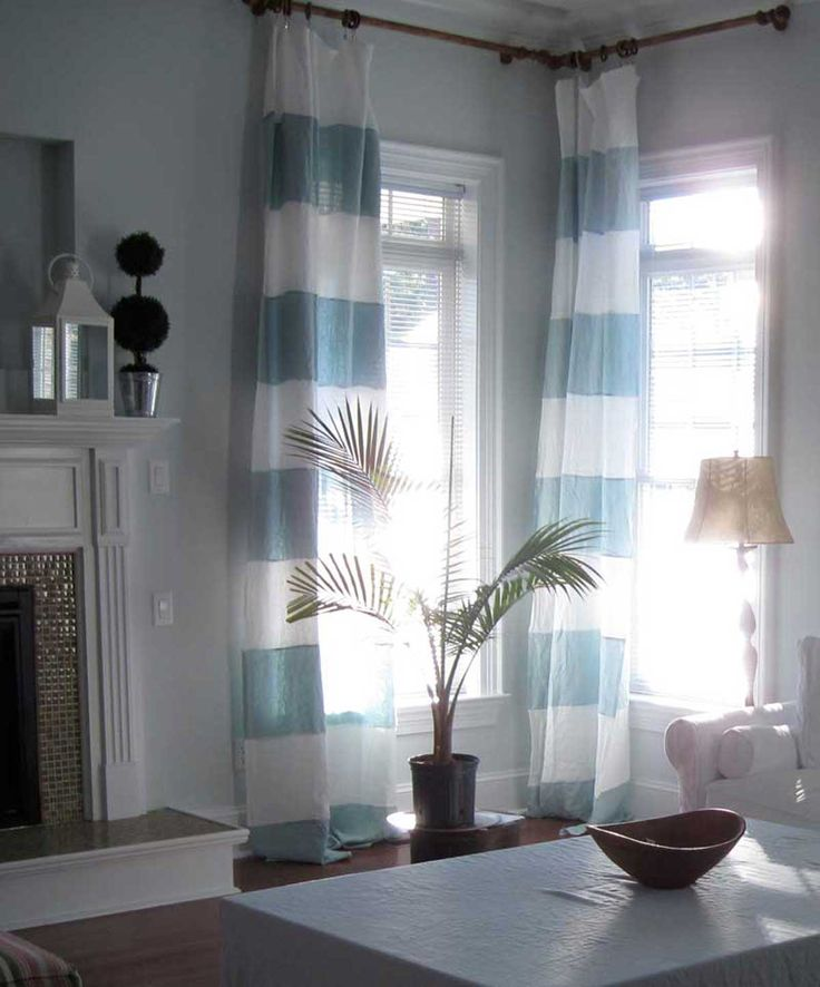 St Barts blue and white curtain