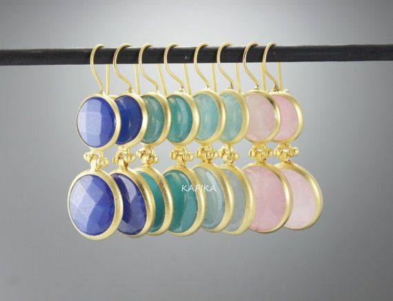 4 PAIR wholesale earrings jades bezels multicolor bulk by KAFIKA
