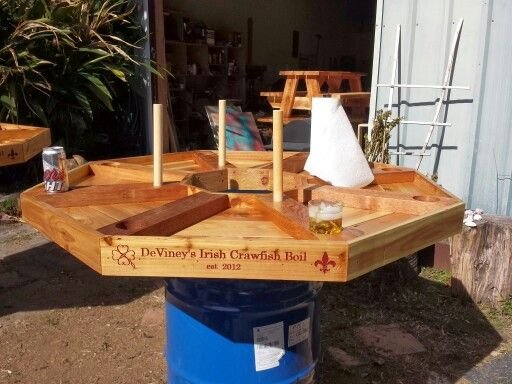 Custom made Crawfish table with room for drinks and paper towel holders. Cedar with spar urethane. Contact me for pricing or to have a custom table made for you at waters.jv@gmail.com.