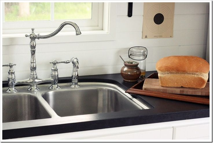 Countertop Chalkboard Paint : ... faux soapstone counter using chalkboard paint! Love this little house