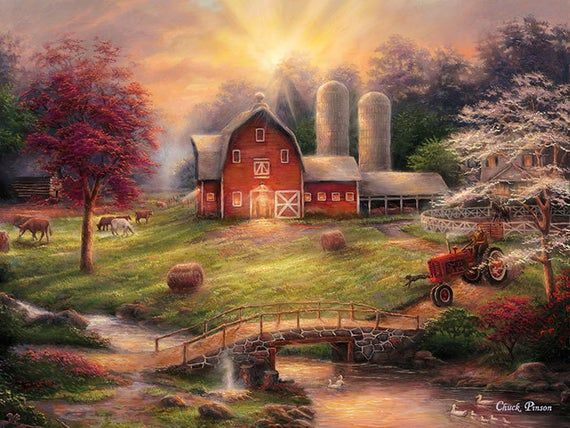 Farm Painting Red Barn Canvas Art Large Painting Tractor Art Canvas Wall Art Aniticipation Of Farm Scene Painting Red Barn Painting Barn Painting