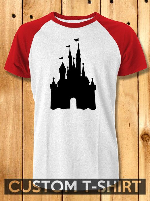 Disney castle silhouette Baseball Tees-1y4 Unisex Raglan Tees For Man And Woman / T-Shirts / Custom T-Shirts / Tee / T-Shirt
