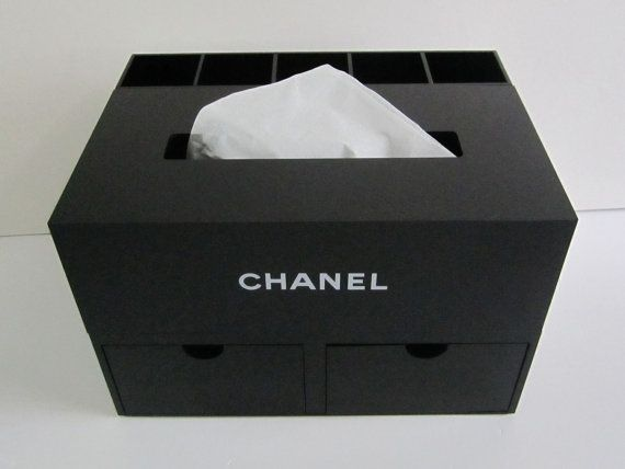 CHANEL Black Jewelry Box with Tissue Box and Compartments / Brush Holder / Vanity Table Organizer / Knick-knack Box VIP Limited Gift *Rare* on Etsy, $249.99