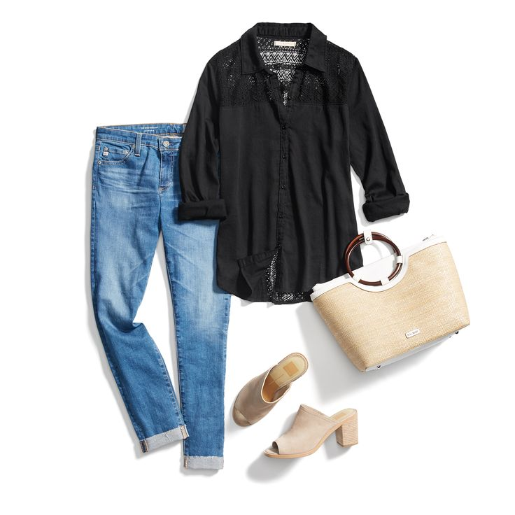 Don't shy away from dark hues this spring, DO pair them with light wash denim! #StylistTip