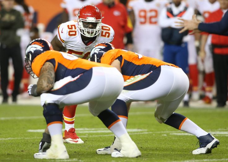Nov 15, 2015; Denver, CO, USA; Kansas City Chiefs outside linebacker Justin Houston (50) during the second half against the Denver Broncos at Sports Authority Field at Mile High. The Chiefs won 29-13.  (3268×2320)