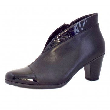 Gabor Enfield Ladies Shoe Boots in Black Leather and Patent