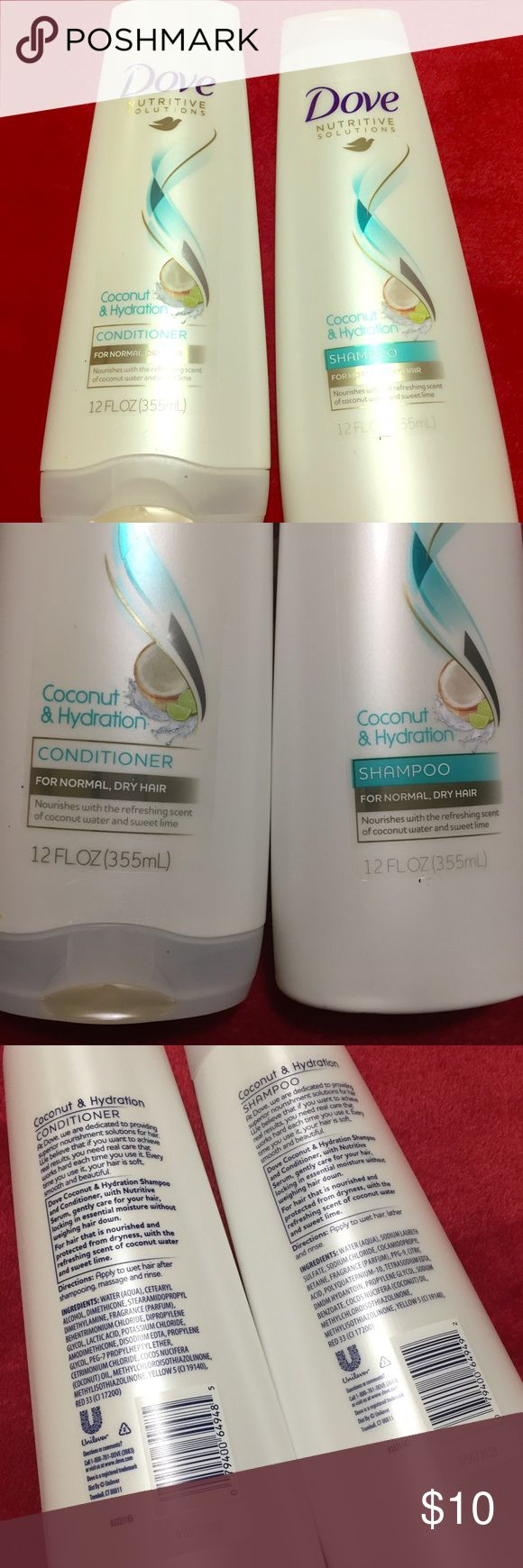 💕Dove Shampoo and Conditioner💕 Brand new bottles of dove shampoo and conditioner for normal / dry hair. Coconut and hydration. Dove Makeup