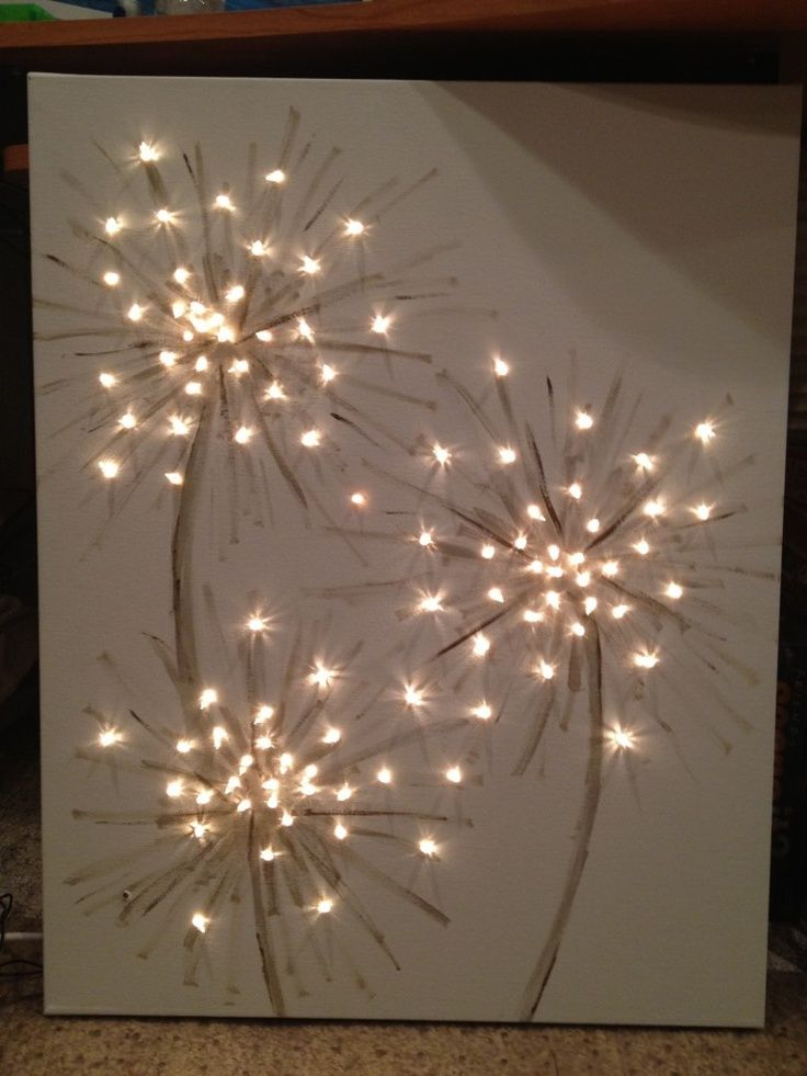 dandelion  canvas artwork paintings | Lighted Dandelion Canvas Painting