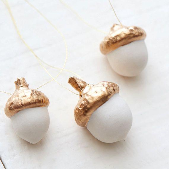 Gold topped porcelain acorn ornament