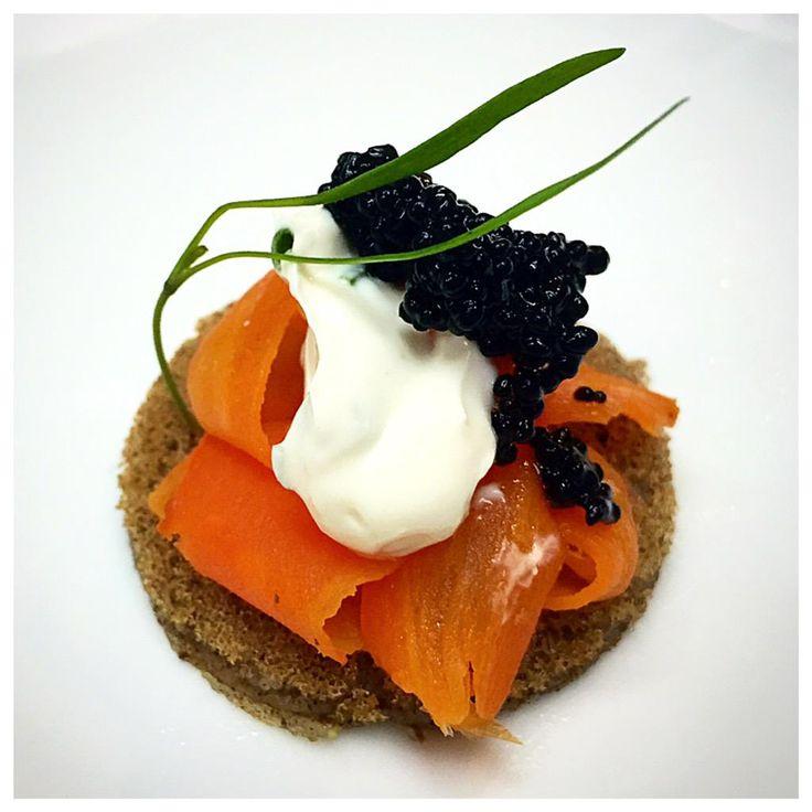 Buckwheat blini, smoked carrot lox, almond crème fraîche & Kelp caviar  . .  oh my!