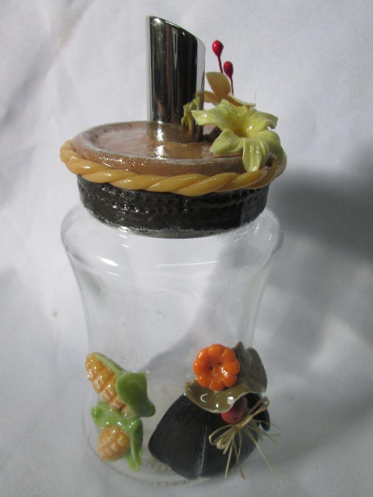 Azucarero reciclado con porcelana fria