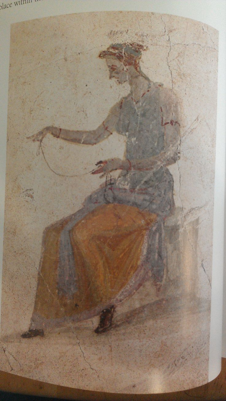 """Robert's """"Life & Death in Pompeii & Herculeneum"""" - pg 78. Pompeii fresco. Woman spinning, wearing white/natural tunica (artist has outlined the sleeves in red for visibility), sea green stola, saffron stola with pale blue edging wrapped around her waist (?). Bracelets and brown leather shoes."""