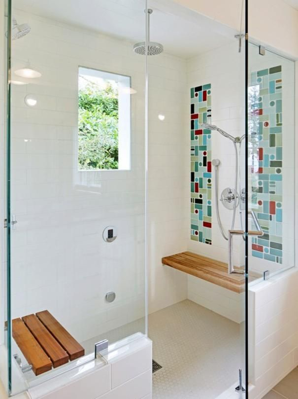 Love the mosaic colors Photo of White Bathroom project in Seattle, WA by Alexandra Immel