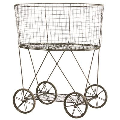 Cape Craftsmen Metal Wire Basket on Wheels & Reviews | Wayfair