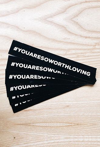"Perfect for your computer, car, helmet, water bottle, or mirror! Size: 6""x1"" You asked and we listened!! So Worth Loving bumper stickers are finally here!! Whether you are one of those people who cove"