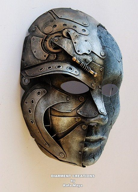 Steampunk Metal Stone Mask 12 by diarmentcreations on Etsy, $80.00