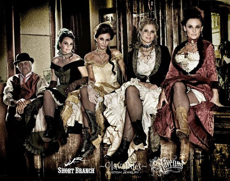 ~ From Short Branch Mercantile: a quartet of saloon girls with Craig Bergsgaard in the background. ~