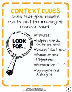 Teaching Context Clues with picture books, classroom magazines and textbooks
