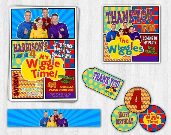 THE NEW WIGGLES Birthday Party Printable Set new characters - Kids Invitation Cupcake Thank You Water Bottle Label  Printable, Digital on Etsy, $24.39 AUD