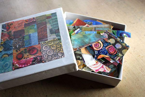 Небольшая коробка стороны украшены обрывки бумаги.  Читайте о том, как создать абстрактный ботанический искусство!