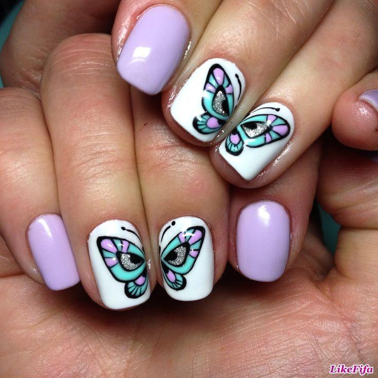 """Маникюр с бабочками, дизайн ногтей """"бабочки"""""""