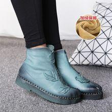 Зимняя Мода Натуральной Кожи Лодыжки Обувь Мартин Сапоги Старинные Повседневная Обувь Теплая Велет Внутри Ручной Работы женские Сапоги(China (Mainland))